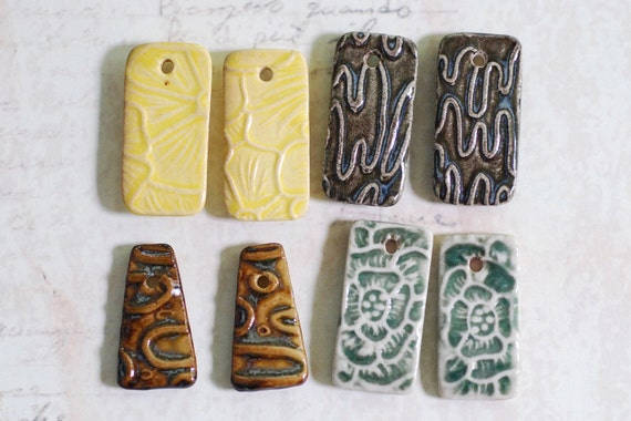 Sale Priced Small Ceramic Pendants Set of Four Pairs.