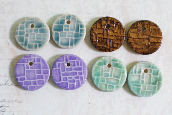 DESTASH Small Ceramic Pendants Set of Four Pairs.