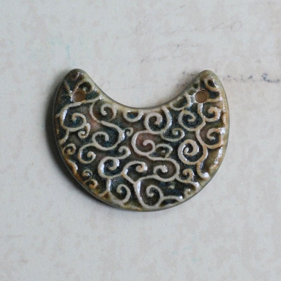 SALE: Line Curls Crescent Moon Two Hole Porcelain Pendant in OOAK Green and Pink Glaze