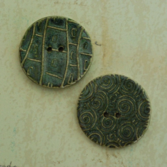 SALE: Ceramic Buttons Two Hole Porcelain Clay Green Burst Glaze