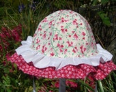 Double Ruffle Handmade BABY SUNHAT Cotton 2-6 months, 6-24 months, 2-4 years, red and white