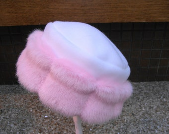 Pretty in Pink Child's Faux Fur Hat, Girl's Hat, Girl's Fur Hat, Fleece and Fur Hat