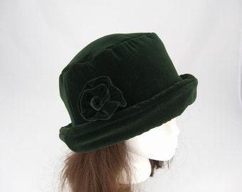 Forest Green VELVET Hat with velvet rose, Women's Velvet Hat, Velvet Hat, Forest Green Velvet