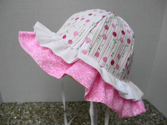 Double Ruffle SUNHAT for babies and toddlers, pink cotton washable sunbonnet