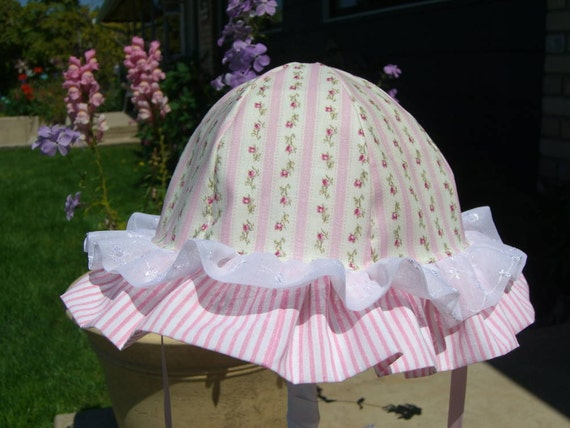 Double Ruffle Handmade BABY SUNHAT Cotton 2-6 months, 6-24 months, 2-4 years, Pretty in PINK