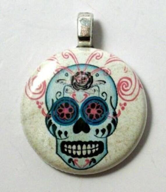 Day of Dead Sugar Skull Pendant  - A