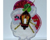 1970s Santa Kit Lite Switch Cover DYI Craft Kit Finished Beaded Sequins Vintage