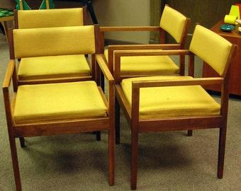 Walnut George Nelson for Herman Miller Arm Chairs Original Fabric Vintage Mid Century Modern