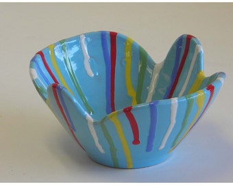 Italian Ceramic Bowl Planter Lite Blue Signed Pottery Vintage Mid Century Modern Multi Color