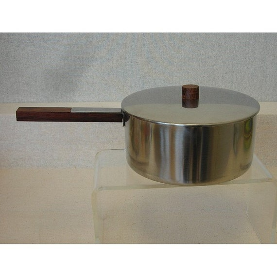 Vintage Danish Modern 2Qt Stainless Covered Pot w\/Rosewood Handle and Knob\/Made in Denmark