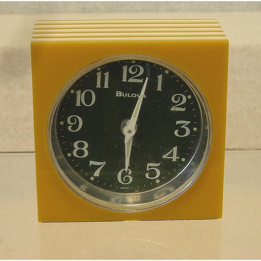 Vintage 1960s Mod Op Bulova Wind Up Alarm Clock Sq Case