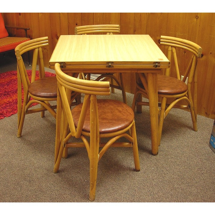 Etsy Vintage Bamboo Furniture: Vintage Tiki Rattan Bamboo 1950s Table And 4 Chair