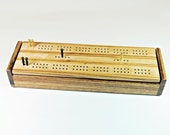Zebrawood and Hard Maple - Dual Deck Cribbage Board Box