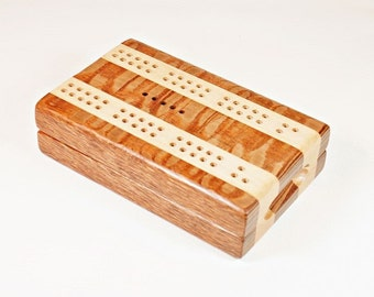 Compact Travel Cribbage - Lacewood and Maple