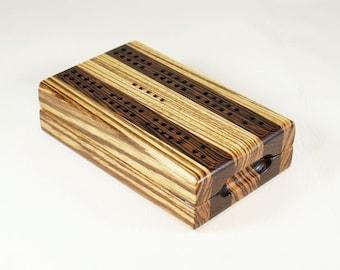 Compact Travel Cribbage - Zebrawood and Wenge