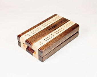 Compact Travel Cribbage - Black Walnut and Maple