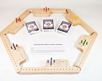 Pegs and Jokers Game Set - Hard Maple