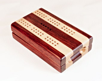 Compact Travel Cribbage - Bubinga and Maple