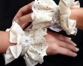 Victorian Lace Cuffs - Ivory Eyelet with Crystal Trim - Neo-Victorian