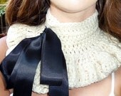 Neck Warmer in Ivory with Black Sash by Mademoiselle Mermaid