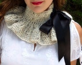 Neck Warmer Collar in Oatmeal by Mademoiselle Mermaid - Victorian Fashion Cowl