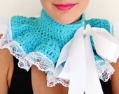 Neck Warmer Ruffle Collar - Turquoise  with White Lace - Neo-Victorian