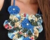 Hawaiian Print Statement Necklace - Unique Tropical Flower Bib - Ocean Blue