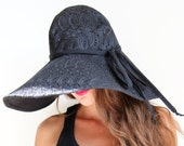 Floppy Hat in Black Eyelet by Mademoiselle Mermaid - mademoisellemermaid