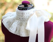 Neck Warmer - White Victorian Fashion Cowl