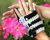 Alice in Wonderland Fingerless Gloves in Black and White Stripes