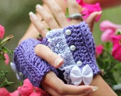 Fingerless Gloves - Lavender Wrist Warmers with Pearls and Lace - Romantic Victorian Style Accessories