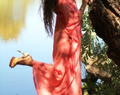 Caftan Maxi Dress - Beach Cover Up in Coral Cotton Gauze - 20 Colors