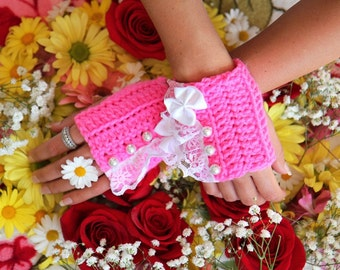 Fingerless Gloves - Hot Pink Wrist Warmers with Pearls and Lace - Romantic Victorian Style Accessories