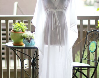 Caftan Maxi Dress - Beach Cover Up Kaftan in White Cotton Gauze - 20 Colors
