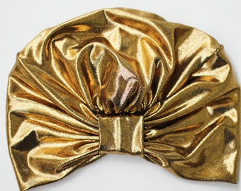 Gold Metallic Turban by Mademoiselle Mermaid