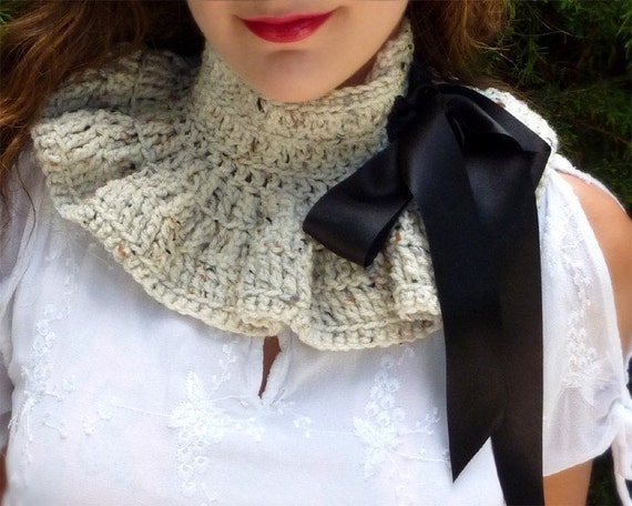 Neck Warmer - Victorian Style Fashion Collar in Oatmeal with Black Ties - Lots of Colors
