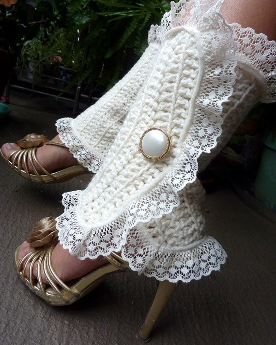 Victorian Style Leg Warmers - Crochet and Lace Spats in Soft White - Steampunk Accessories - Lots of Colors