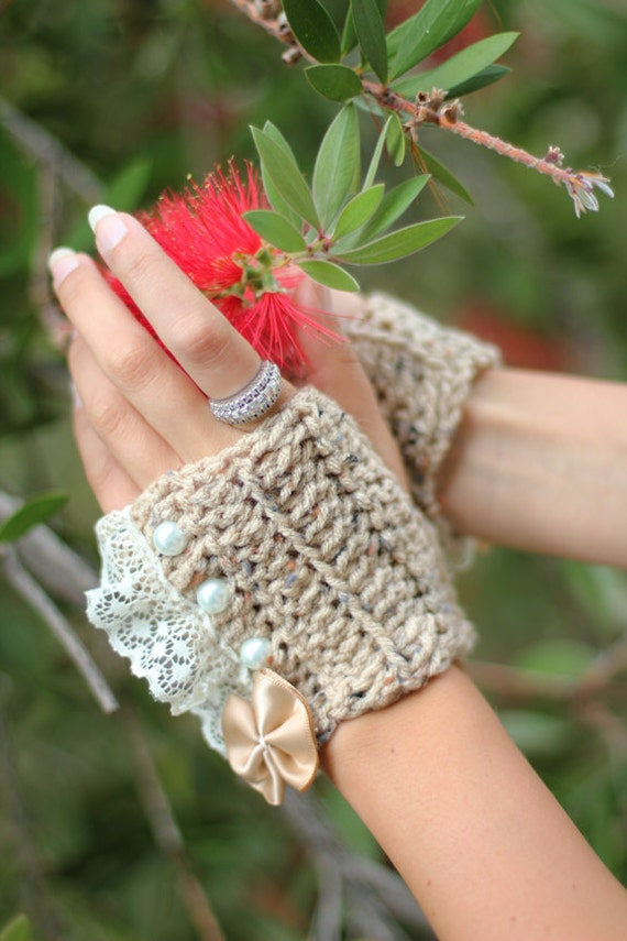 Fingerless Gloves - Tan Wrist Warmers with Pearls and Lace - Romantic Victorian Style Accessories