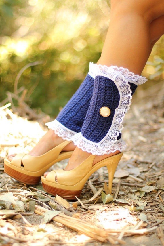 Victorian Style Leg Warmers - Crochet and Lace Spats in Navy - Steampunk Accessories - Lots of Colors