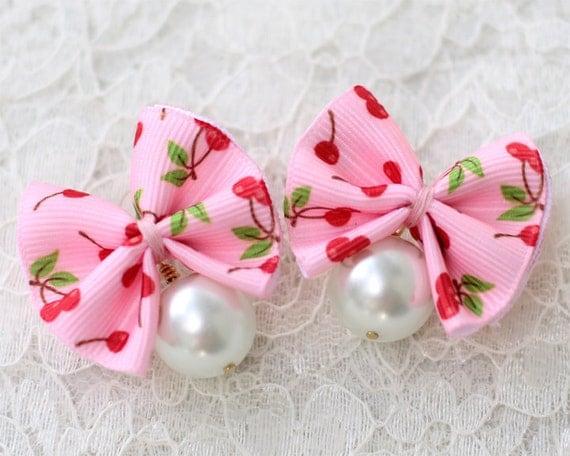 Bow and Pearl Earrings - Kawaii Fashion Jewelry by Mademoiselle Mermaid
