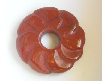 Red Jasper donut bead - Focal bead - Carved flower donut bead - 30mm - 1 pc