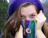 Colorful Rainbow - Crocheted Neckwarmer - Cowl - Peace