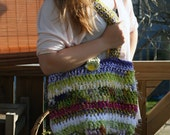 Large Funky Hobo Bag - Hand Crocheted using a mixture of yarns