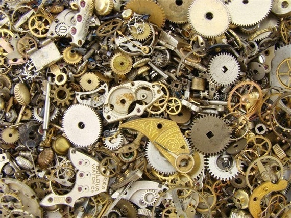 Steampunk Goth altered art Neo Victorian antique and vintage watch parts gears cogs wheels mix 5 gram lot assortment circa 1880's to 1950's