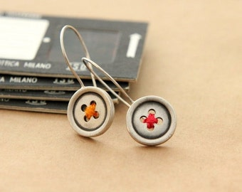 Buttons, sterling silver earrings