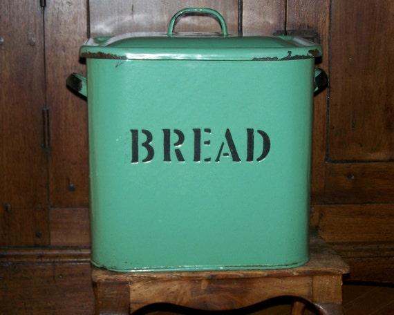 Antique Vintage Green Enamel English Bread Box