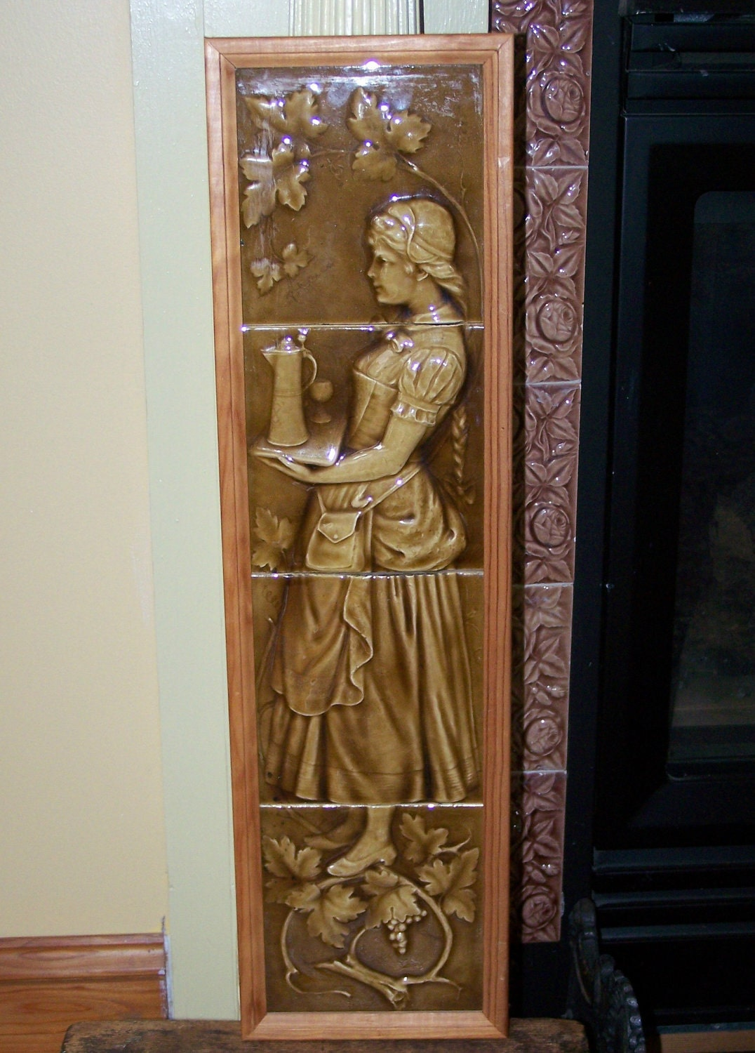Antique Fireplace AETCo Majolica 6 X 6 Tiles Full Figure