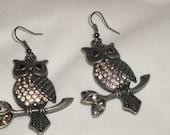 Gunmetal and crystal Owl Earrings