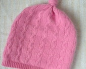 Soft Upcycled Cashmere Top Knot Baby Hat - Pink 3-6 Month - Cable Knit