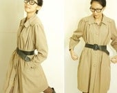 SALE Lawall Vintage Khaki Retro Style Rain Coat Overcoat Dress